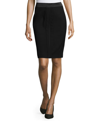 Woven Pencil Skirt, Black