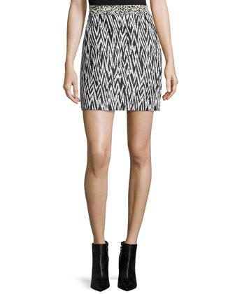 Mixed-Print Mini Skirt, Black/White