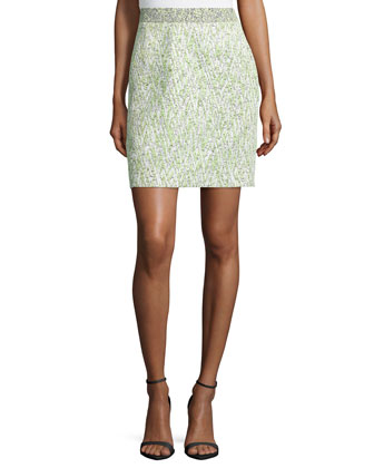 High-Waist Mini Skirt, White/Celadon