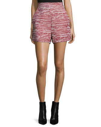 High-Waist Skinny-Stripe Shorts, Crimson Combo