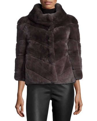 3/4-Sleeve Chevron Rabbit Fur Short Coat