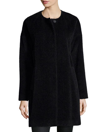 Fisher Project Alpaca-Blend Cocoon Coat, Long-Sleeve Jersey Cozy Tee & ...