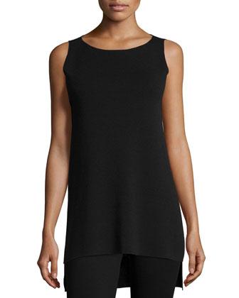Crepe High-Low Long Shell & Pleated Wide-Leg Silk Pants, Women's
