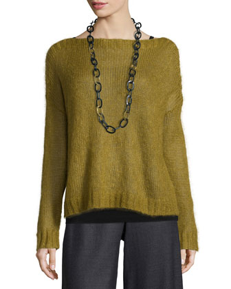 Airy Mohair Box Top, Silk Jersey Long Slim Camisole & Heathered ...