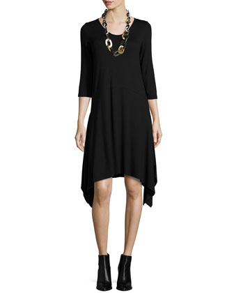 3/4-Sleeve Jersey Dress W/ Arched Hem