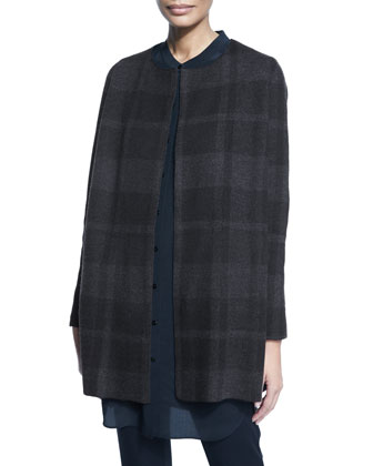 Buffalo Plaid Long Jacket, Petite