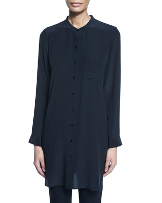 Long-Sleeve Silk Tunic/Shirt