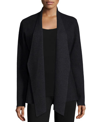 Angled-Front Wool-Blend Jacquard Jacket, Long Slim Camisole, Silk Shibori ...