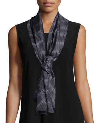 Angled-Front Wool-Blend Jacquard Jacket, Long Slim Camisole, Silk Shibori ...