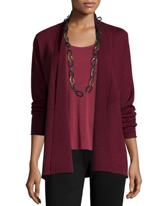 Washable Wool Crepe Cardigan, Stretch Silk Jersey Tank & Boot-Cut Ponte ...