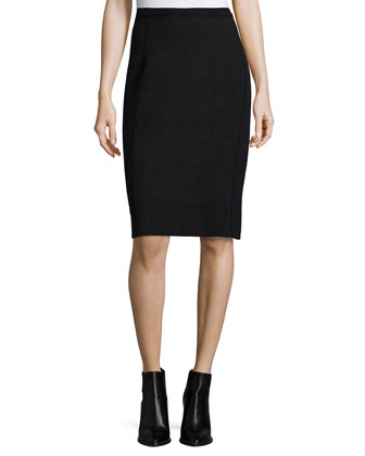 Long Merino Turtleneck Top & Fitted Jacquard Pencil Skirt