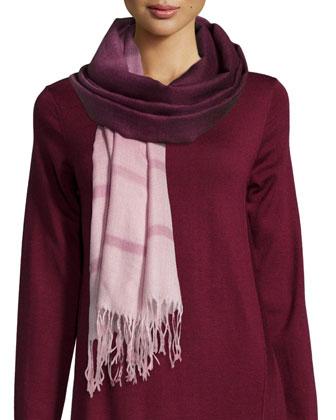 Long-Sleeve Merino Jersey Asymmetric Dress & Alpaca Ombre Striped Scarf