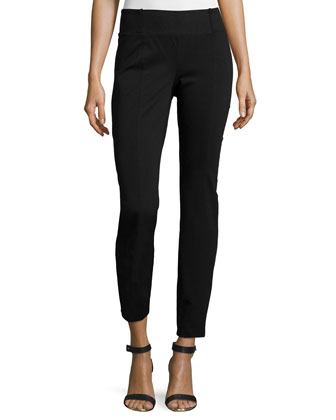 Rayon Knit Skinny Pants, Black