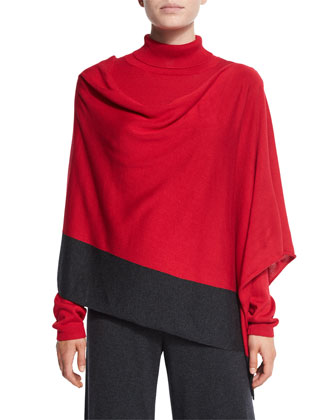 Silk-Cashmere Contrast-Trim Poncho, Women's