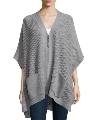 Zip-Front Wool-Cashmere Poncho