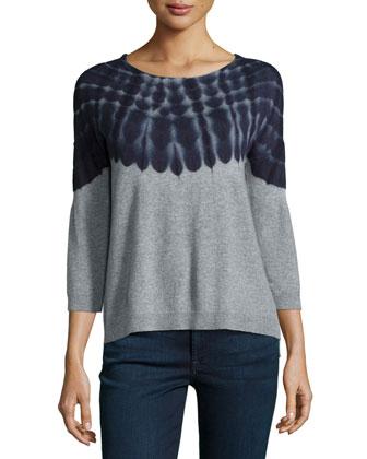 3/4-Sleeve Twelve-Gauge Tie-Dye Sweater, Husky/Mariner