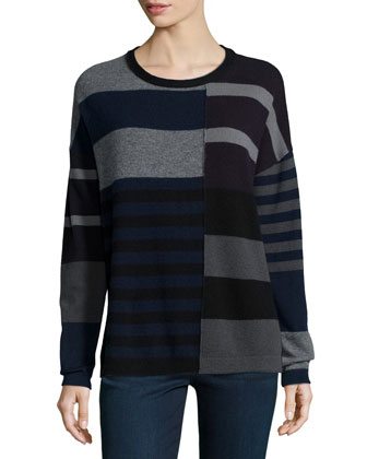 Cashmere Long-Sleeve Mixed-Stripe Sweater, Charcoal
