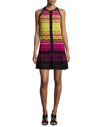 Degrade Ripple-Knit Dress W/ Ruffle Hem
