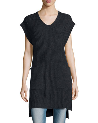 V-Neck Wool-Blend Long Vest, Charcoal