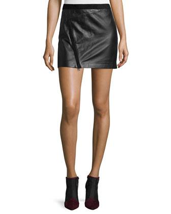 Jay Cuir Deluxe Zip Mini Skirt, Noir