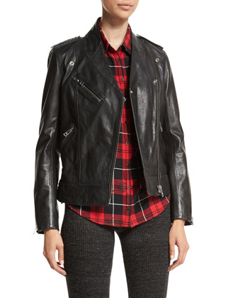 Loon Stars Leather Jacket, Tessy Printed Plaid Shirt & Step Boot-Cut Knit ...