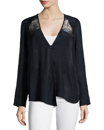 Crocodile-Print Silk Top, Noir
