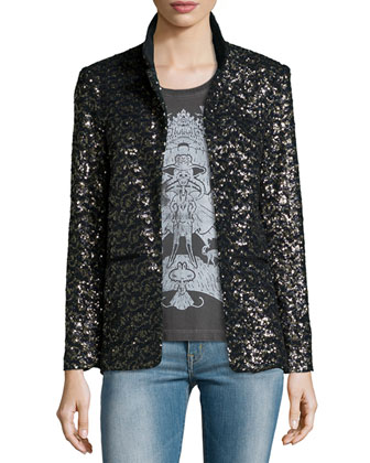 Volly Sequin Deluxe Jacket, Noir/Or