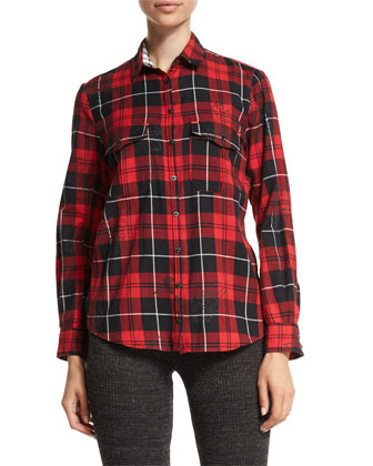 Loon Stars Leather Jacket, Tessy Printed Plaid Shirt & Step Boot-Cut Knit ...