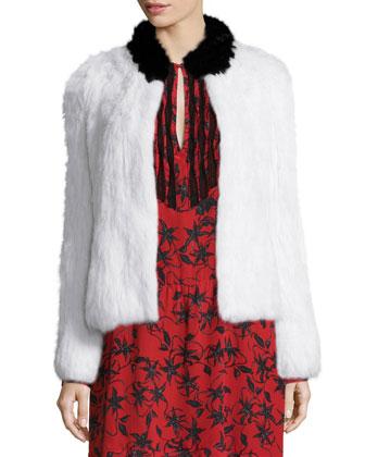 Louis Rabbit Fur Jacket, Blanc/Noir