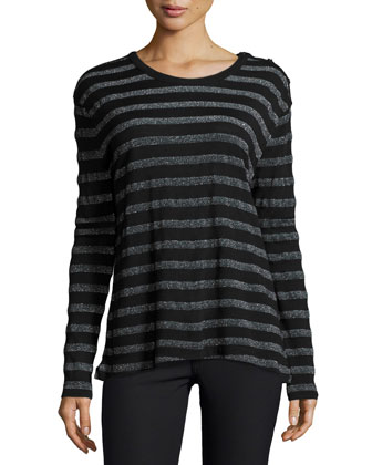 Willy Long-Sleeve Metallic Stripe Top