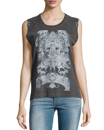 Typsy Pigment Sleeveless Top, Carbone