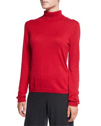 Silk-Cashmere Long-Sleeve Turtleneck, Women's