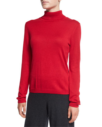 Silk-Cashmere Contrast-Trim Poncho, Silk-Cashmere Long-Sleeve Turtleneck & ...