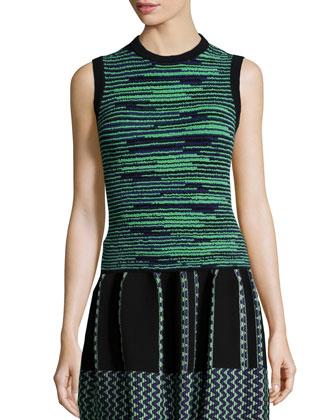 Space-Dye Crewneck Tank & Vertical Zigzag-Knit Skirt