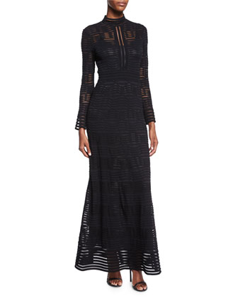 Long-Sleeve Rib-Stitch Maxi Dress