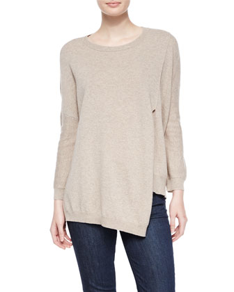 Long-Sleeve 12-Gauge Cashmere Pullover