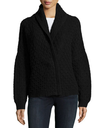 Long-Sleeve Cable-Knit Cashmere Menswear Cardigan, Black