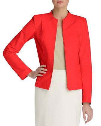 Leonie Zip-Front Cotton-Stretch Jacket