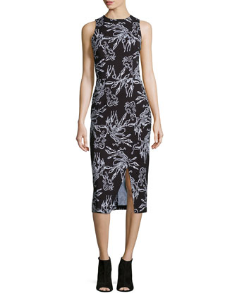 Gidget Reef-Print Sleeveless Sheath Dress