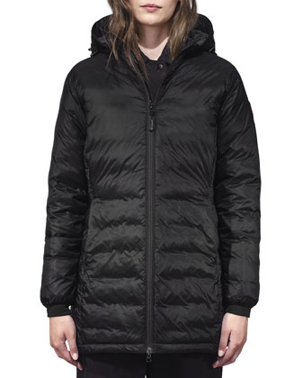 Camp Hooded Mid-Length Puffer Coat, Black