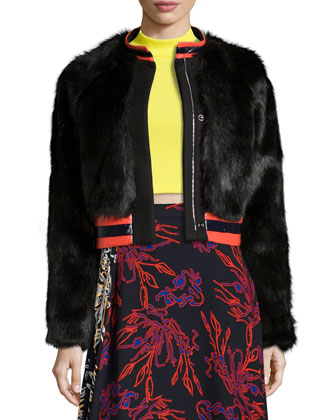 Fran Faux-Fur Varsity-Style Jacket, Black