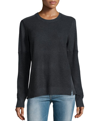 Thermal-Stitched Silk-Back Sweater, Petite