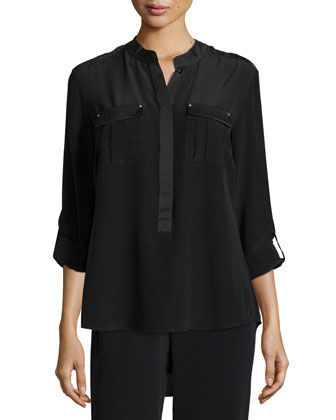 Long-Sleeve Stud-Trim Silk Blouse, Petite