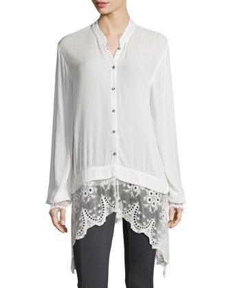 Daisy Blouse with Lace Trim, Basic Slim Cotton Tank & Benatar Ruched ...
