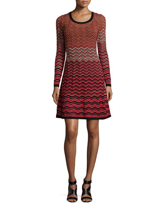 Long-Sleeve Ripple-Stitch Fit-and-Flare Dress