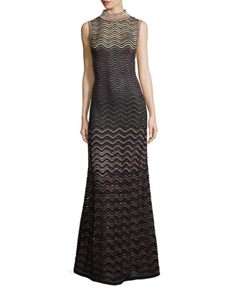 Sleeveless Metallic Ripple-Stitch Maxi Dress