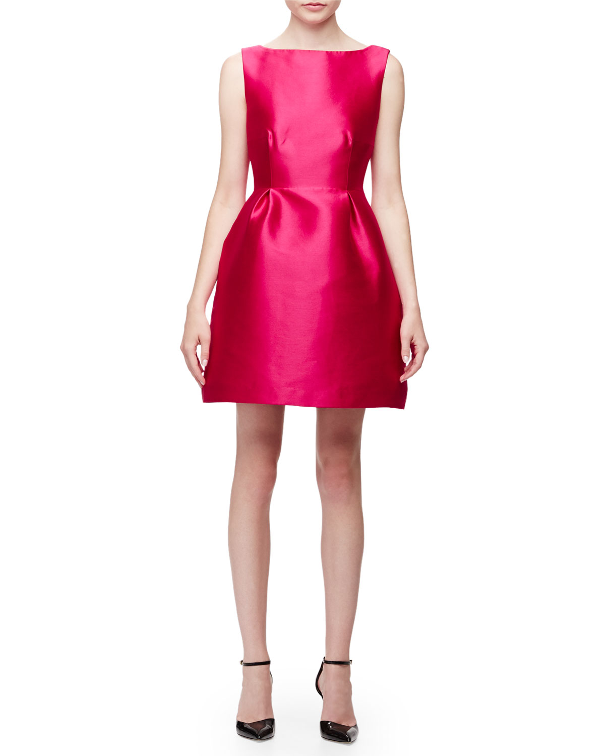 sleeveless open-back fit-&-flare dress, sweetheart pink, Size: 0, SWEETHEART PINK - kate spade new york