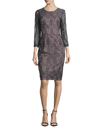 Nadia 3/4-Sleeve Lace Sheath Dress