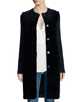 Loriely Deauville Lamb-Fur Coat & Ramalla Reversible Long-Sleeve Top