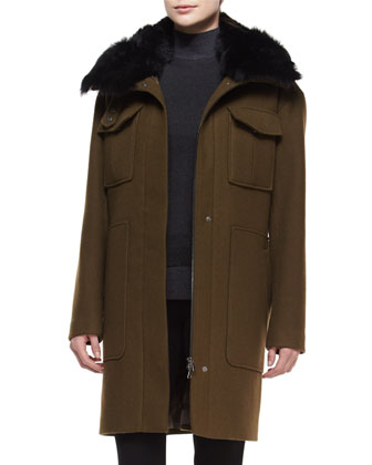 Yvoia Bolton Coat W/Fur Trim, Aletta Idol Sleeveless Top & Adalwen Ski ...